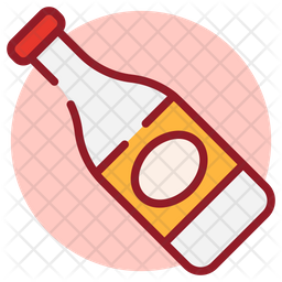 Wine Bottle Colored Outline Icon