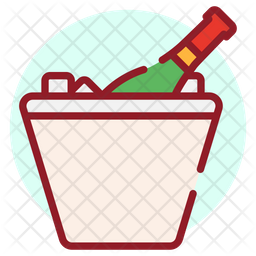 Wine Bucket Colored Outline Icon