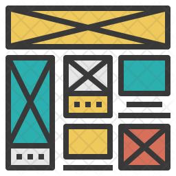 Wireframe Colored Outline Icon