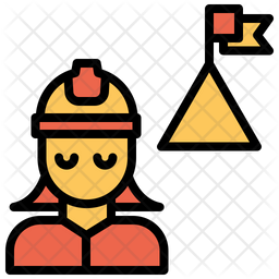 Woman Engineering Achievement Colored Outline Icon