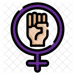 Woman Power Colored Outline Icon