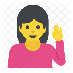 Woman Raising Hand Icon