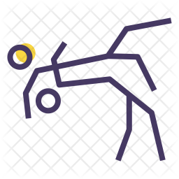Wrestling Colored Outline Icon
