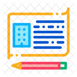 Written Building Information Colored Outline Icon