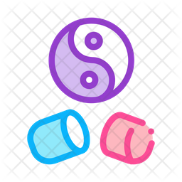 Yin Capsule Colored Outline Icon