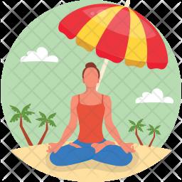 Yoga At Beach Flat Icon