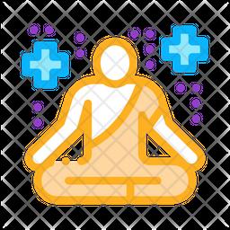 Yoga Men Colored Outline Icon