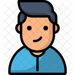 Young Boy Colored Outline Icon