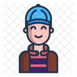 Young Man Colored Outline Icon