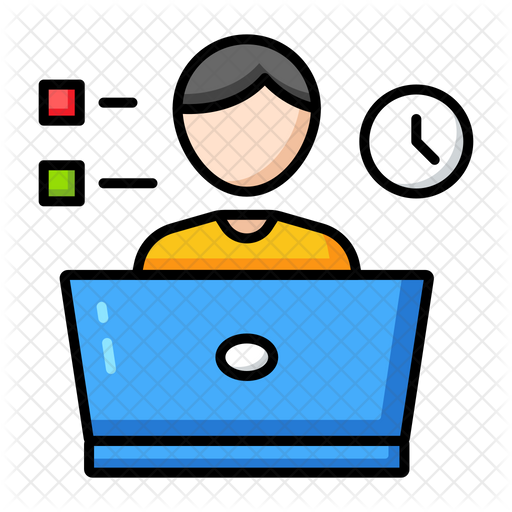 Online Class Time Icon of Colored Outline style - Available in SVG, PNG,  EPS, AI & Icon fonts