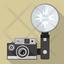 Vintage camera with flash