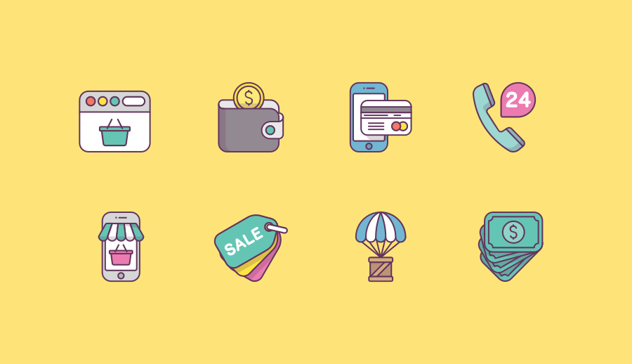 Free Shop Payment E-commerce Icon Pack by Sergei Kokota
