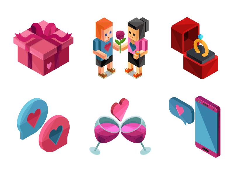 Isometric Valentine Icons by Roundicons