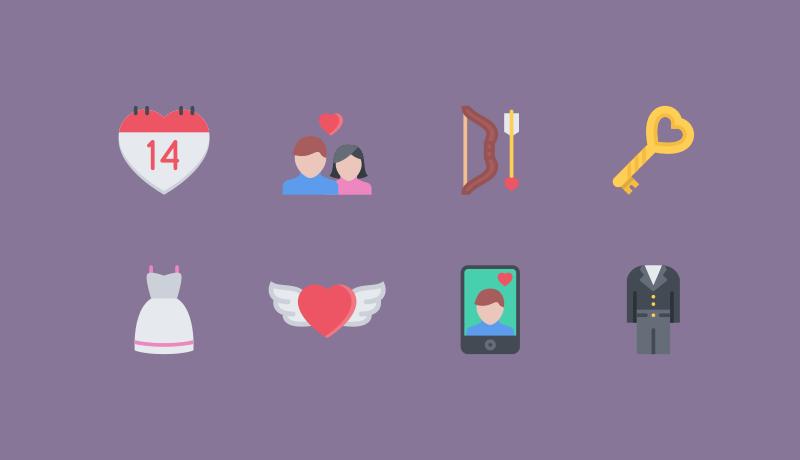 Love Flat Icons for Valentine by Nikita Golubev
