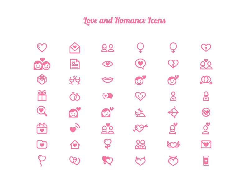 Love and Romance Icons by Bevouliin