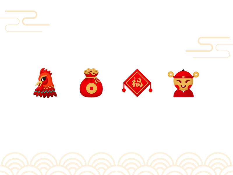 Spring Festival Chinese New Year icons by lomo69
