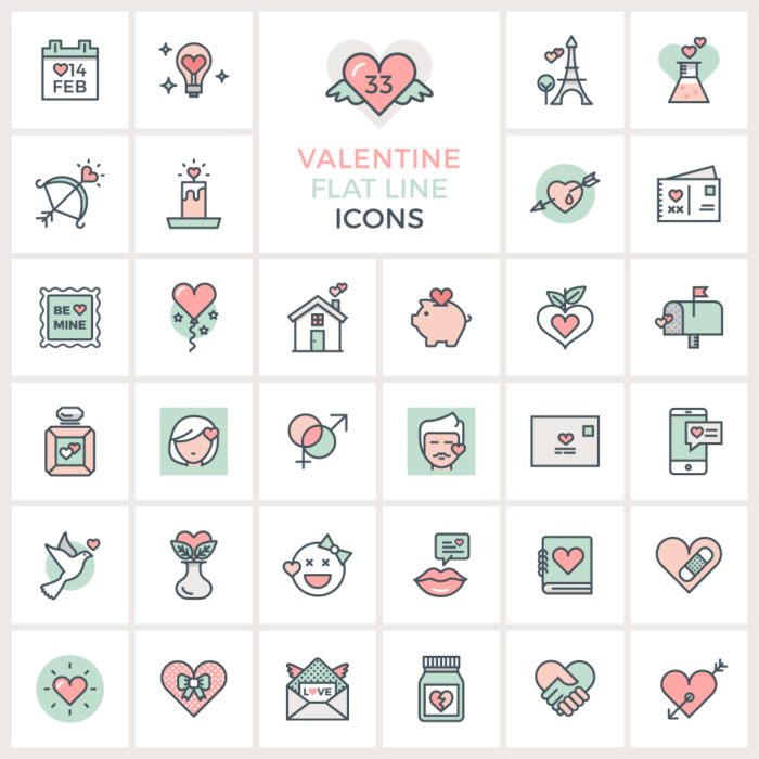 Valentine Flat Line Icons by GraphicsFuel
