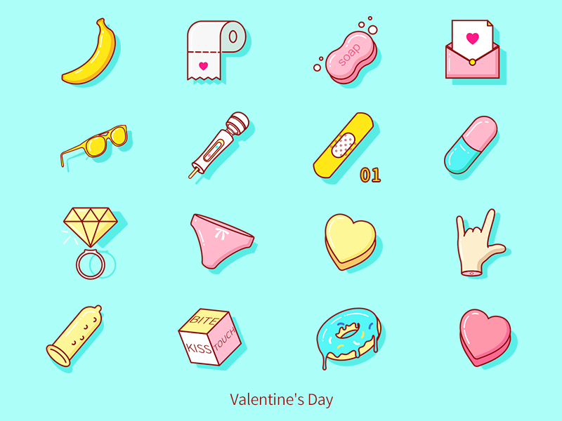 Valentine's day Realistic Icons by Airt