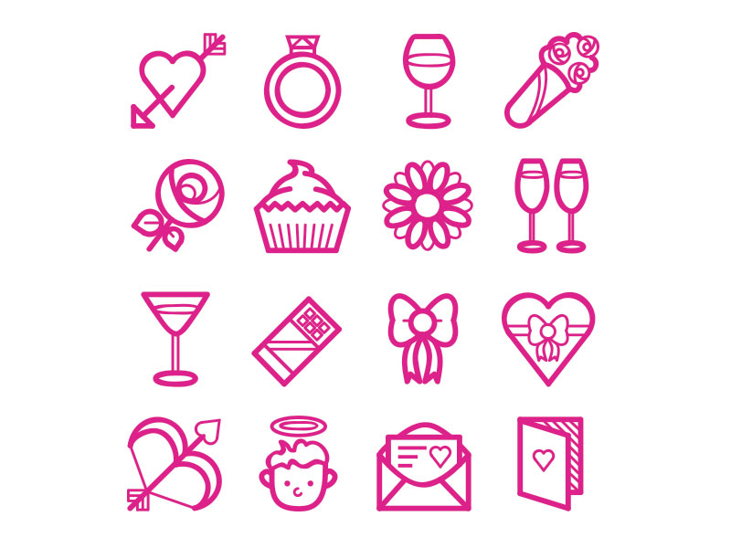 Valentine's day Romance Iconset by Cat Lines