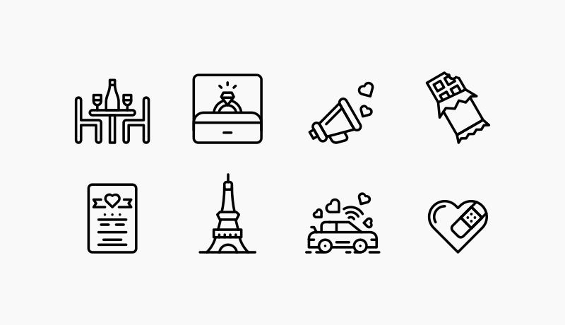 Valentine's day icons by Jemis Mali