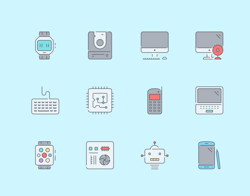 Computer devices icons by Pixel Bazaar