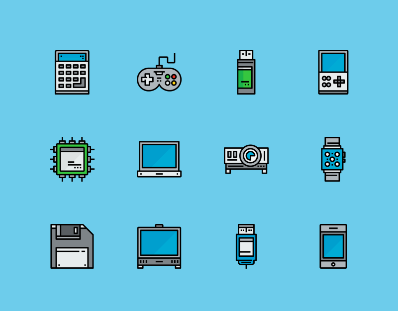 Devices colored outline icons by Unlimit icon