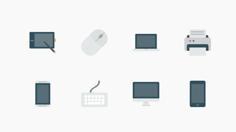 Devices flat icon collection by Pixel Buddha