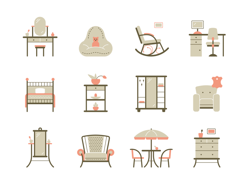 Furniture Household icon set by Four Hands