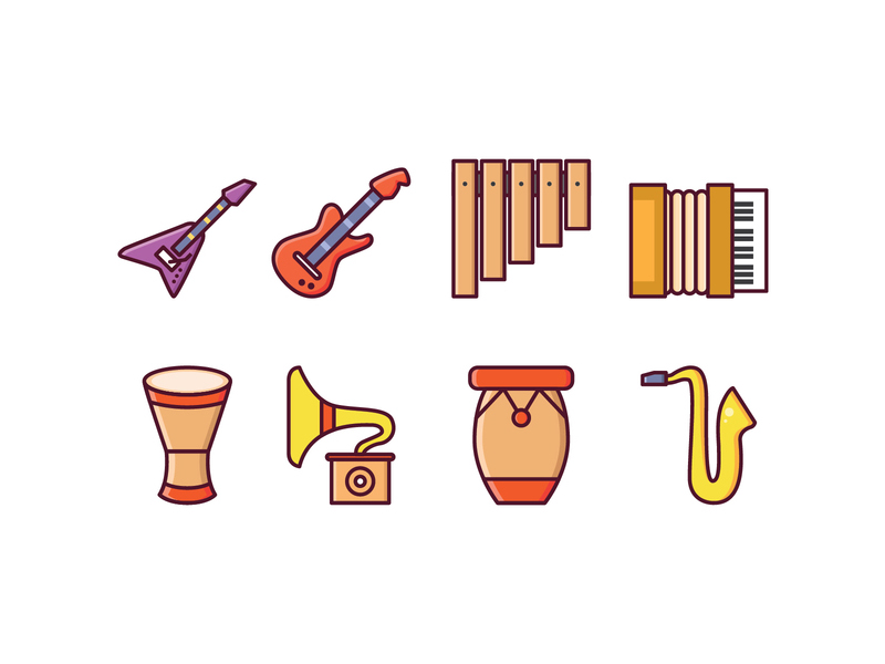 Instrumental icon collection by Vecteezy