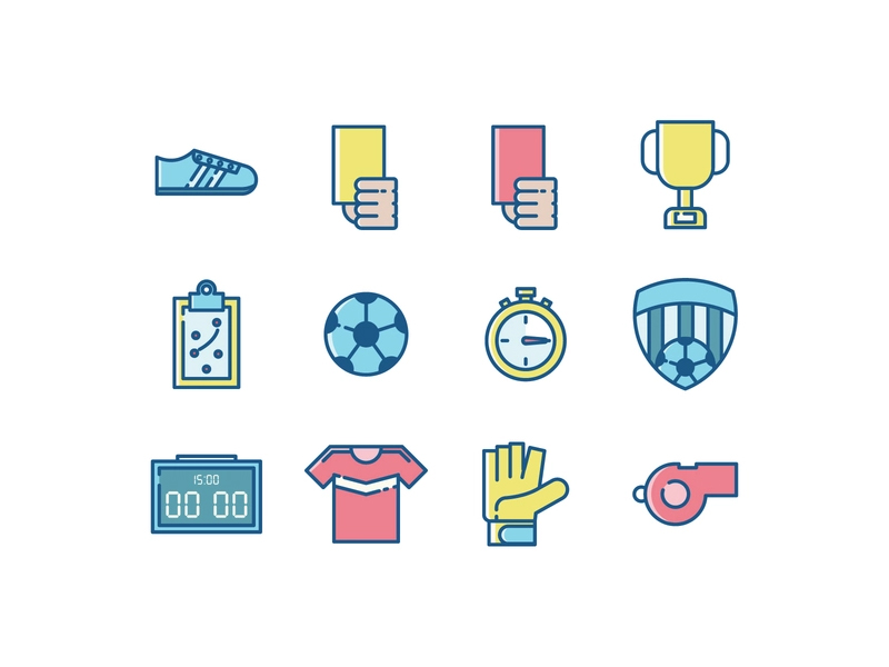 Soccer icons by Vecteezy