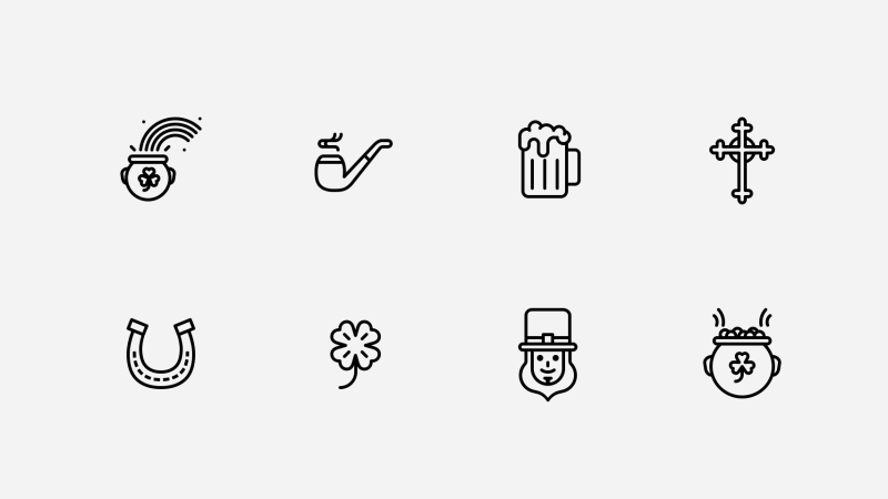 St. Patrick's Day line icon collection by Jemis Mali