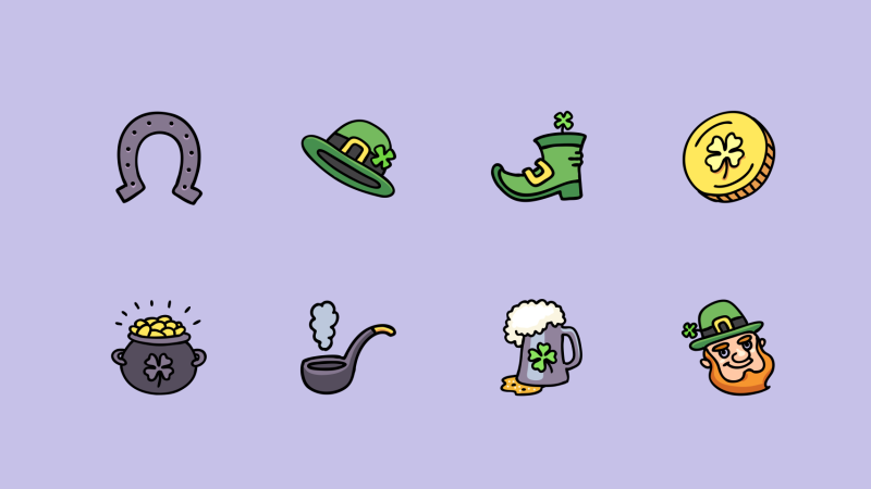 St. Patrick's day Cartoon style icons by Denis Sazhin