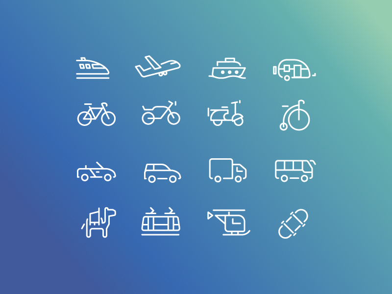 Transport icon collection by Angela Angelini