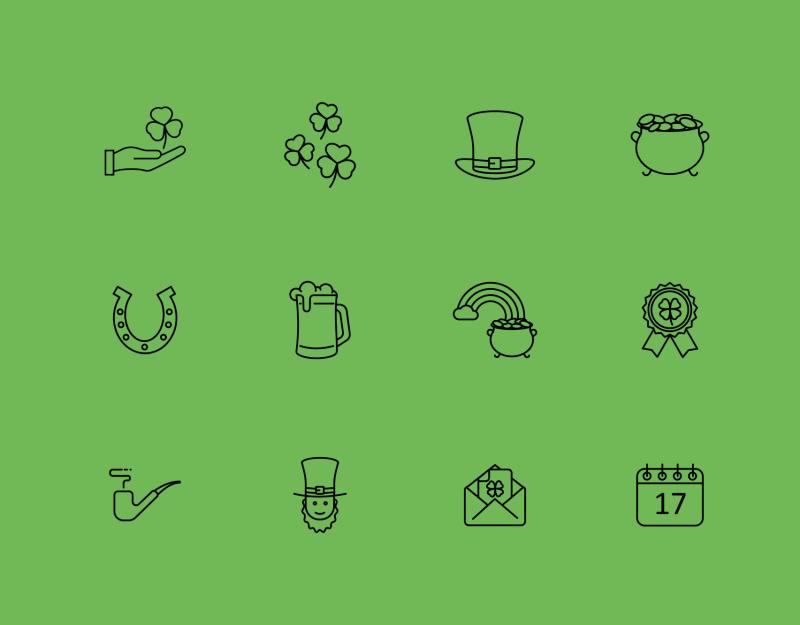 Saint Patrick's day icons by Nikita Kozin