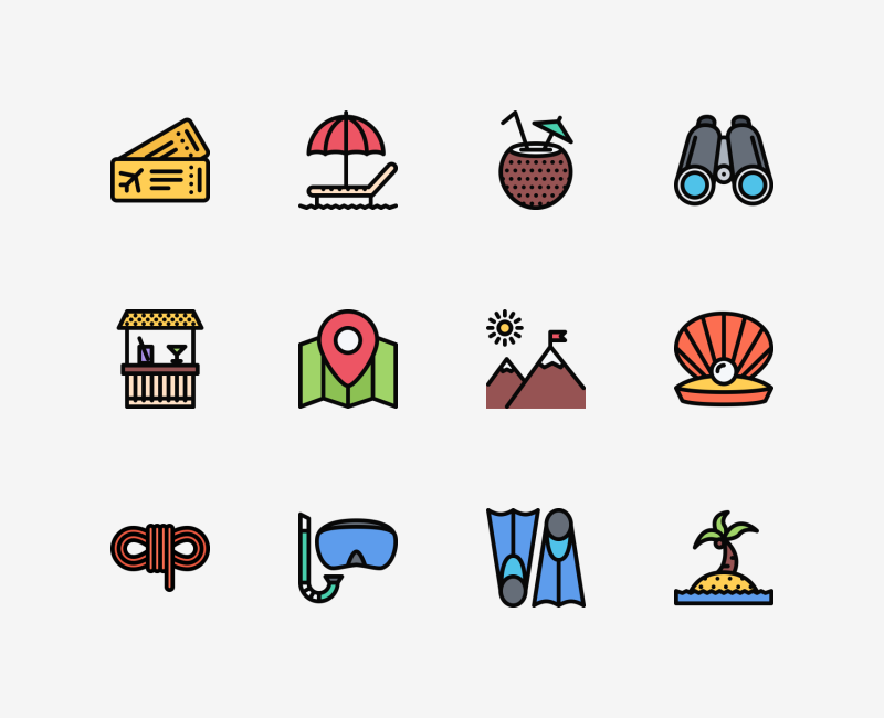 Beach and Camping colored icon set by Nikita Golubev