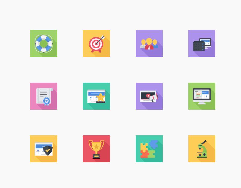 Business & SEO Flat Squares icon collection by Nikita Golubev