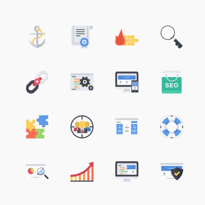 Business & SEO Flat icon set by Nikita Golubev