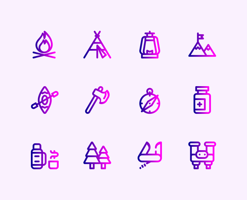 Camping and Adventure tiny icons by Jemis Mali