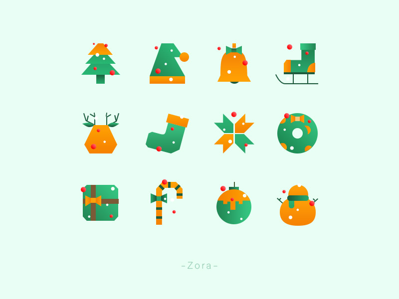 Christmas icon set by Zora