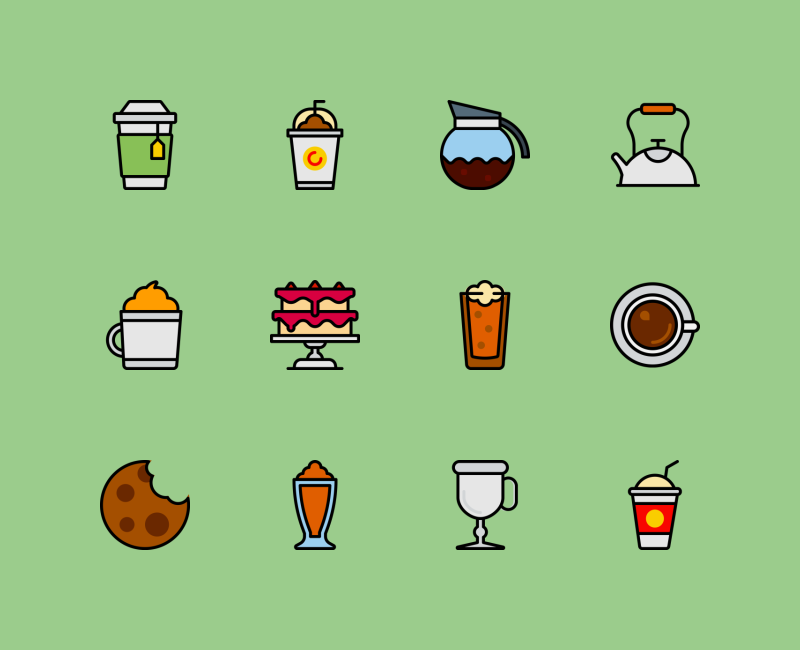 Coffee shop retro color icons by Smashicons