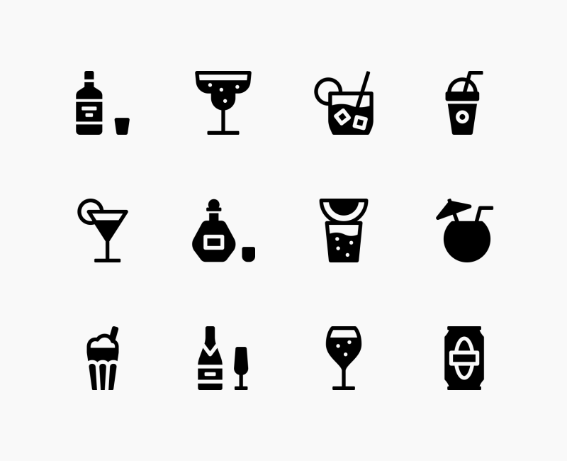 Drinks And Beverages solid icons by Andrejs Kirma