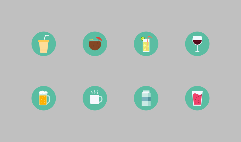 Drinks and Beverages flat icons by Setyo Ari Wibowo