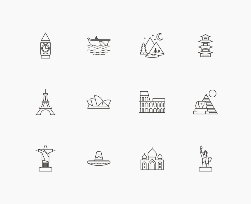 Hotel Travel and Heritage landmark icons by Danil Polshin