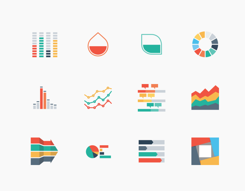Infographic Elements colored outline icons by Chamestudio
