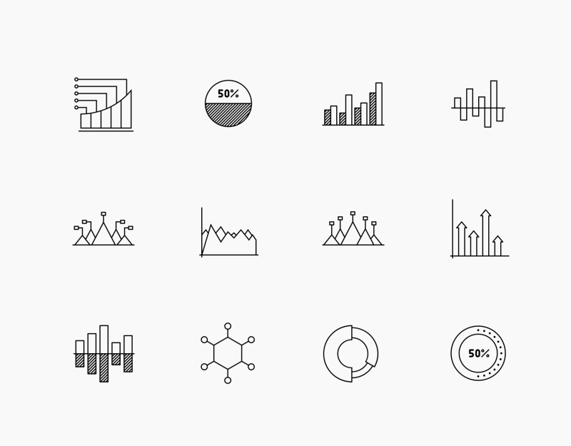 Infographic line icon collection by Jemis Mali