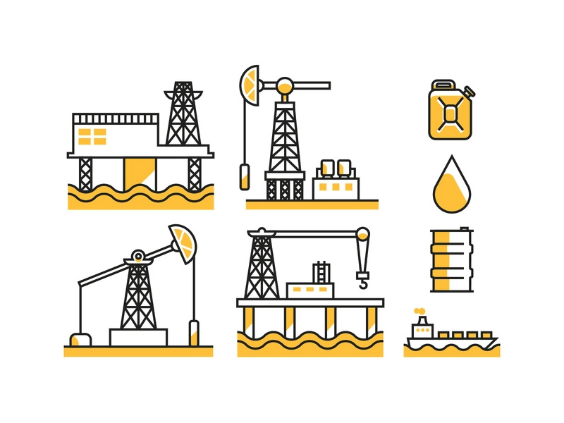 Oil Field Icons by Vecteezy