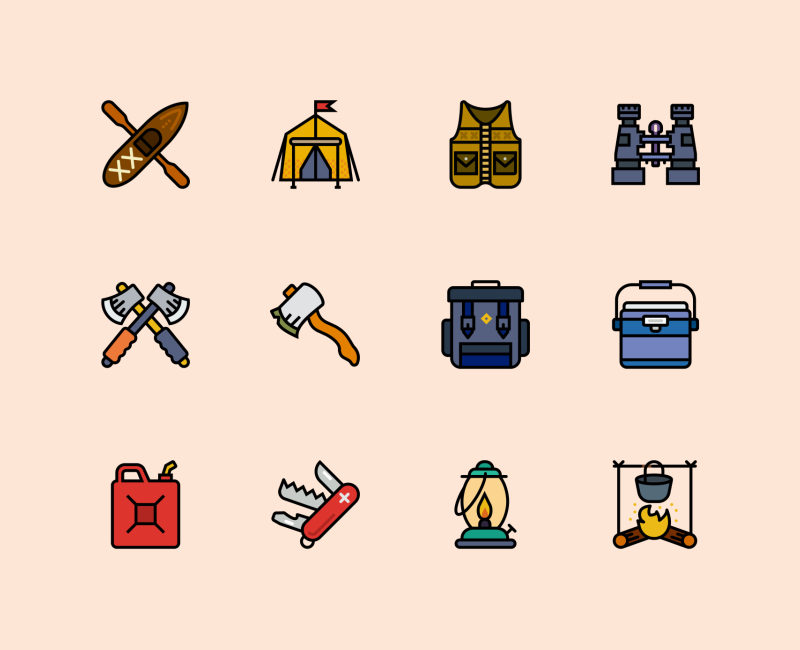 Outdoor Retro icon collection by Smashicons
