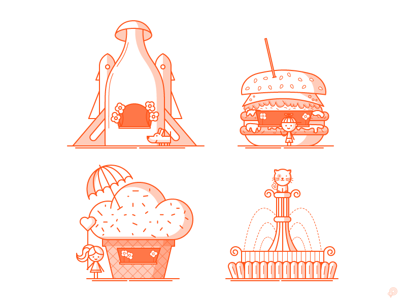 Restaurant icons by Petr Had