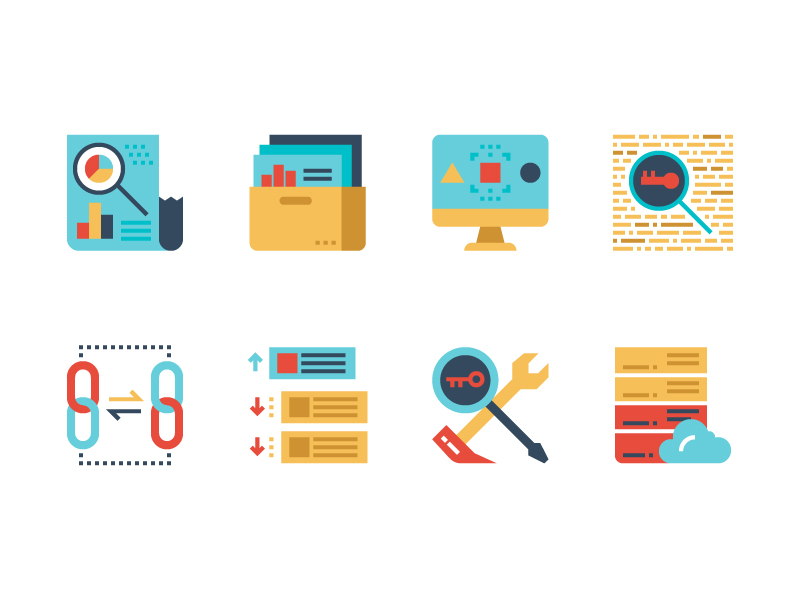 SEO Flat icon collection by Becris