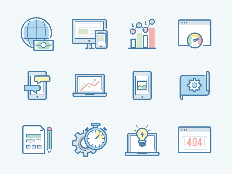 SEO and Marketing icon set by Laura Reen